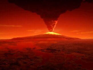 Около 3,5 миллиарда лет назад вулканическая активность изуродовала Марс
